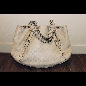 Beige Gucci Shoulder Bag w/ Braided Strap